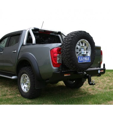 Nissan Navara D23 NP300 Kaymar Rear Bar with LH Tyre Carrier & RH Dual Jerry Can Holder