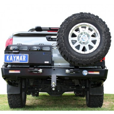Nissan Navara D23 NP300 Kaymar Rear Bar with RH Tyre Carrier & LH Dual Jerry Can Holder