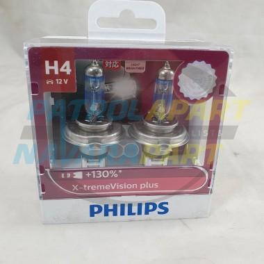 Philips X-tremeVision Plus 130% Headlight bulb Globe H4 60/55w 2 Pack