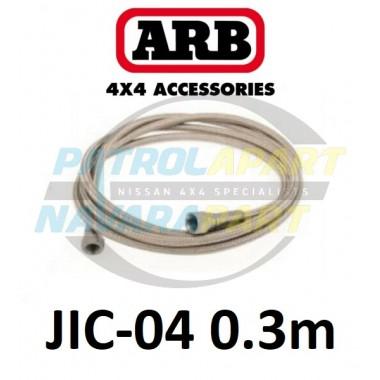 ARB Stainless Braided Air Hose 30cm 1/4 JIC-04 Fitting 37 Degree Flare