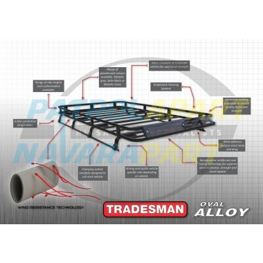 Tradesman Roof Rack D22 Oval Alloy with Mesh Floor
