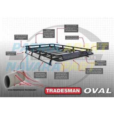 Tradesman Roof Rack D22 Oval Steel with Mesh Floor